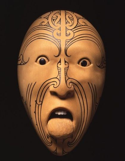<strong>2002, Whanganui a Tara, collaboration with Hiwirori Maynard, mask was stolen in 2003 (photo by Michael Jones)</strong>