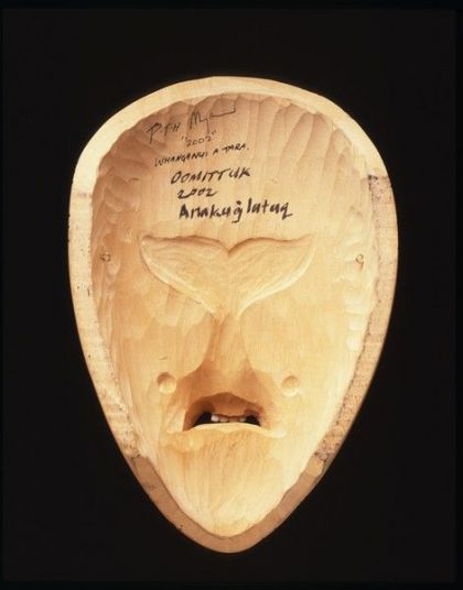 <strong>2002, back side, Whanganui a Tara, collaboration with Hiwirori Maynard, mask was stolen in 2003 (photo by Michael Jones)</strong>