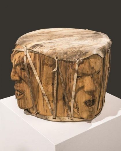 <strong>2015, Three Voices bridging the Gap, Drum, Anchorage Museum, Alaska</strong><br><p>2015, Three Voices Bridging the Gap, pow-wow style drum<br />purchased by the Anchorage Museum, Anchorage, Alaska</p>