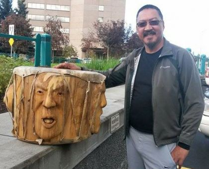 <strong>2015, Three Voices bridging the Gap, Drum, Anchorage Museum, Alaska</strong><br><p>2015, Three Voices Bridging the Gap - pow-wow style drum<br />purchased by the Anchorage Museum, Anchorage, Alaska</p>